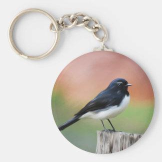 Willy Wagtail - Australian Bird Art Key Ring