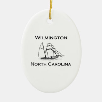 Wilmington North Carolina Tall Ship Ceramic Ornament