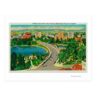 Wilshire Boulevard, Gen. Douglas MacArthur Postcard