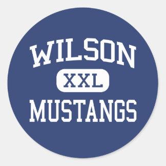 Wilson - Mustangs - High School - Wilson Texas Round Sticker