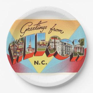 Wilson North Carolina NC Vintage Travel Postcard- 9 Inch Paper Plate