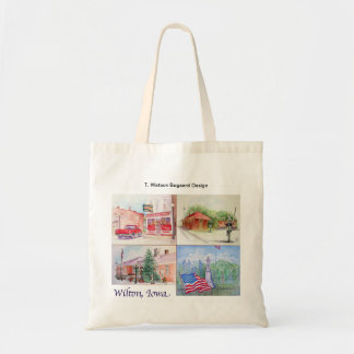 Wilton, Iowa Watercolor Collage Tote Bag