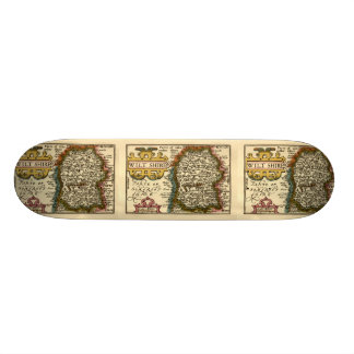 Wiltshire County Map, England Skateboard
