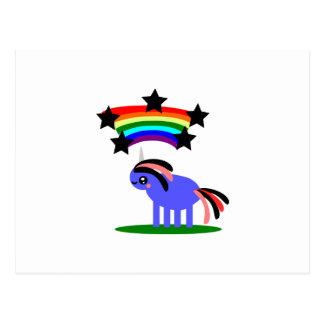 Wimsical Unicorn and Happy Hippy Rainbow Postcard