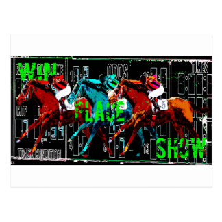 win place show horse racing postcard