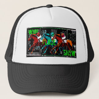 win place show horse racing trucker hat