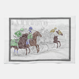 Win Place Show Race Horses Tea Towel