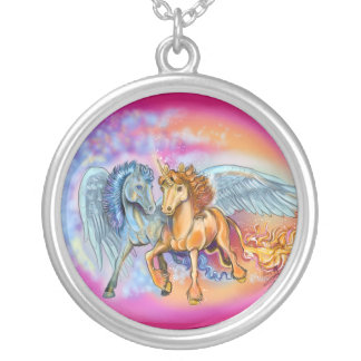 Wind and Flame unicorn pegasus~necklace Silver Plated Necklace