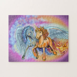Wind and Flame unicorn pegasus~puzzle Jigsaw Puzzle