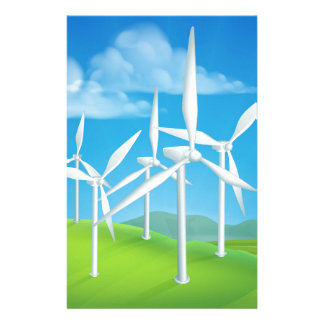 Wind Energy Power Turbines Generating Electricity Stationery