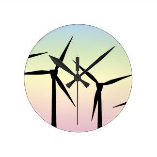 Wind Farm Morning Round Clock