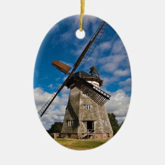 Wind mill with blue sky ceramic ornament