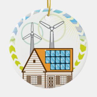 Wind n Solar Small House Vector Eco Energy Ceramic Ornament