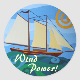 Wind Power Classic Round Sticker
