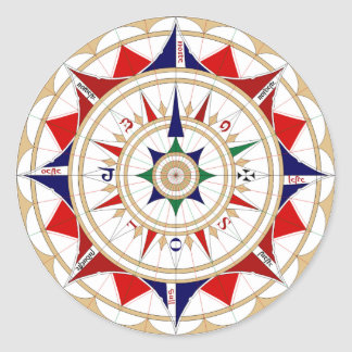 Wind Rose 3 Classic Round Sticker