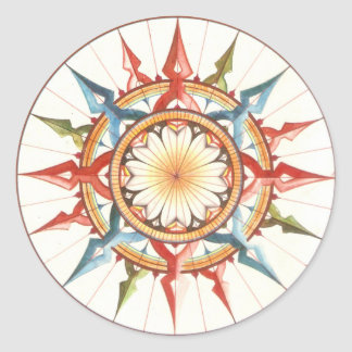 wind rose, compass classic round sticker