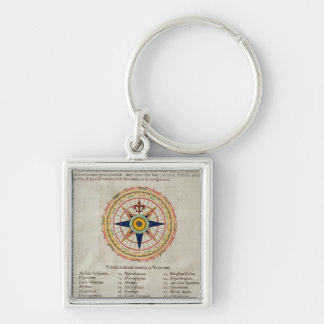 Wind rose with the 32 winds ofthe world Silver-Colored square key ring