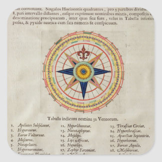 Wind rose with the 32 winds ofthe world square sticker