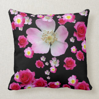 WIND SWEPT PINK ROSES ON BLACK CUSHION