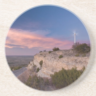 Wind Turbine in west Texas at Sunset Beverage Coasters