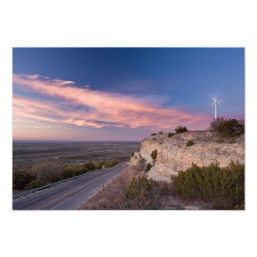 Wind Turbine in west Texas at Sunset Invite