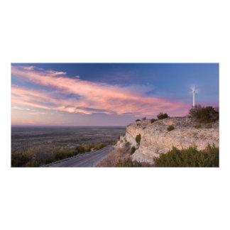 Wind Turbine in west Texas at Sunset Custom Photo Card