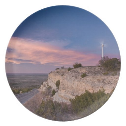 Wind Turbine in west Texas at Sunset Party Plates