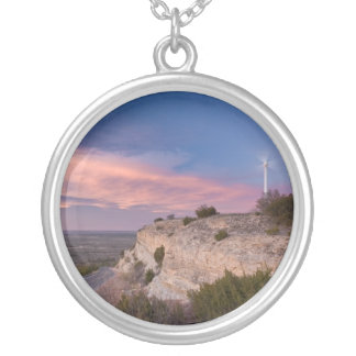 Wind Turbine in west Texas at Sunset Round Pendant Necklace