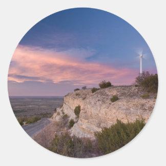 Wind Turbine in west Texas at Sunset Round Sticker