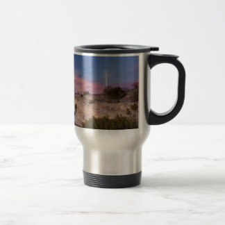 Wind Turbine in west Texas at Sunset Stainless Steel Travel Mug
