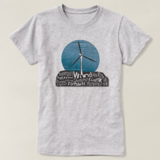 Wind Turbine w/ Textography Design Grey T-Shirt