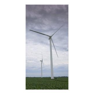 Wind Turbines in Cornfield Photo Card Template