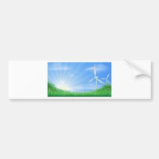 Wind turbines landscape illustration bumper sticker