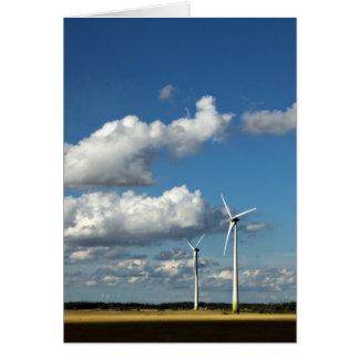 Wind turbines on the roadside greeting cards