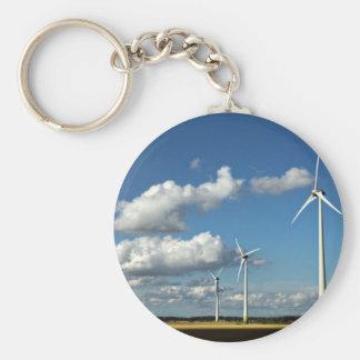 Wind turbines on the roadside key ring