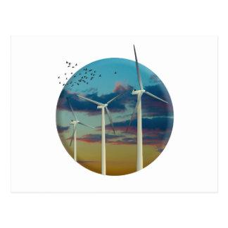 Wind Turbines Painted Sky Postcard