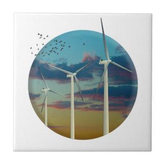 Wind Turbines Painted Sky Tile