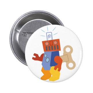 Wind Up Robot 6 Cm Round Badge