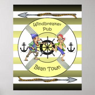 """Windbreaker Pub"" ~ Bean Town ~ (Boston) ~ Poster"