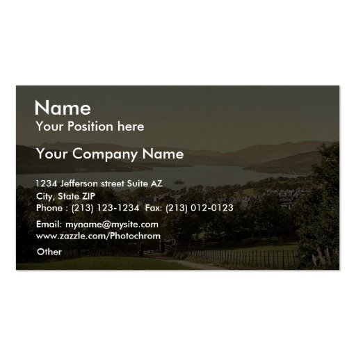 Windermere, from summit, Lake District, England ra Business Card Templates
