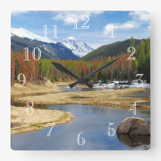 Winding Colorado River With Mountains and Pines Wallclock