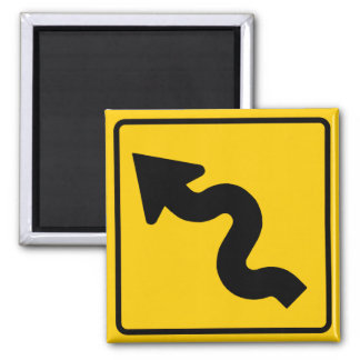 Winding Road Ahead Highway Sign Magnet