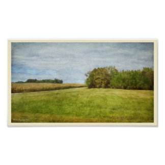Winding Road Through Cornfields Poster