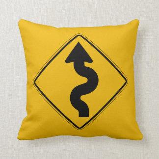 Winding Road, Traffic Warning Sign, USA Cushions