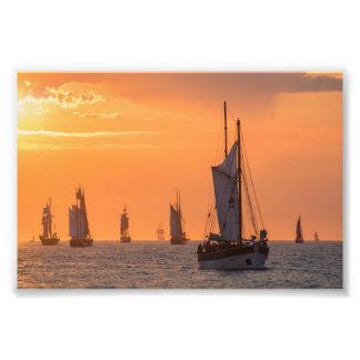 Windjammer in sunset light photo print