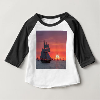 Windjammer in sunset on the Baltic Sea Baby T-Shirt