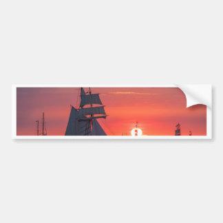 Windjammer in sunset on the Baltic Sea Bumper Sticker