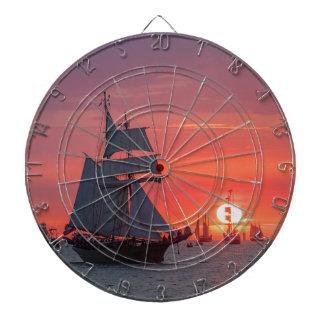 Windjammer in sunset on the Baltic Sea Dartboard