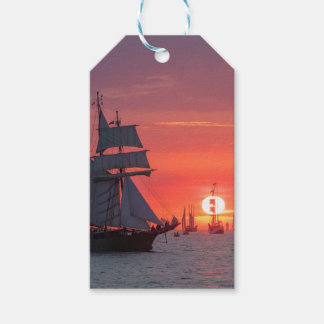 Windjammer in sunset on the Baltic Sea Gift Tags