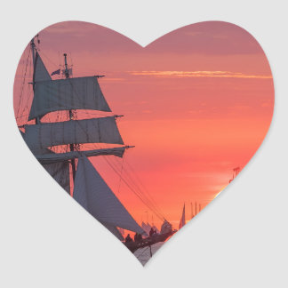Windjammer in sunset on the Baltic Sea Heart Sticker